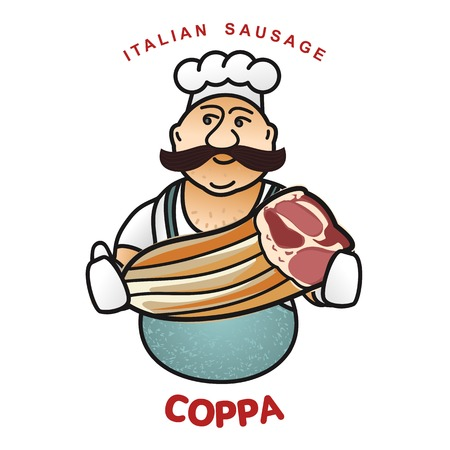Chef with Italian sausage vector illustration. Delicatessen Italian pig meat, with white, raw and country ham, salami slices, sausage and bacon.