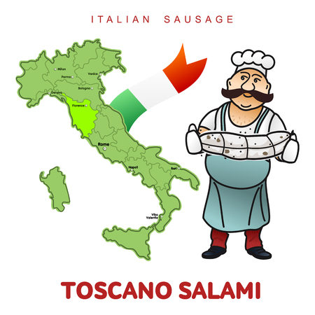 country kitchen: Chef with italian sausage and italian map vector illustration. Delicatessen pig meat, raw and country ham, salami slices, sausage and bacon. Full color illustration isolated on a white background Illustration