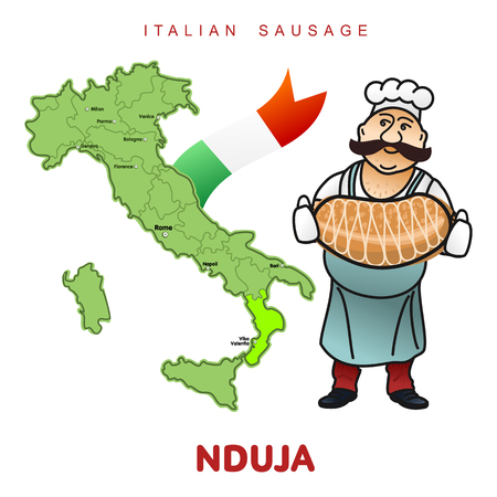 El cocinero con la salchicha italiana y el mapa italiano vector el ejemplo. Carne de puerco delicatessen, jamón crudo y de campo, rodajas de salami, salchichas y tocino. Ilustración a todo color aislado en un fondo blanco Foto de archivo - 89092861