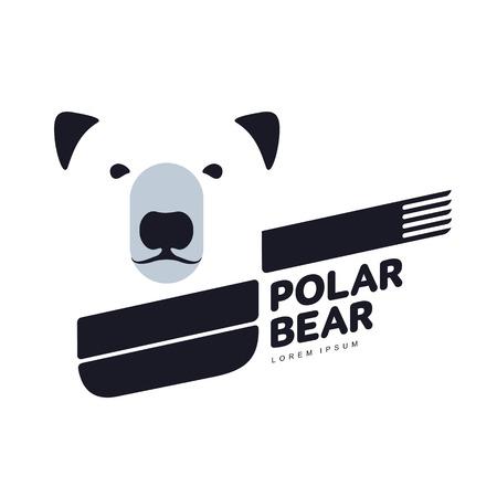 Gestileerde grafische ijsbeer logo sjablonen. Verzameling van creatieve ijsbeer logo sjablonen, groei, ontwikkeling, macht concept. Vectorillustratie geïsoleerd op witte achtergrond