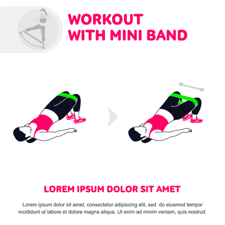Workout pose using band illustration.