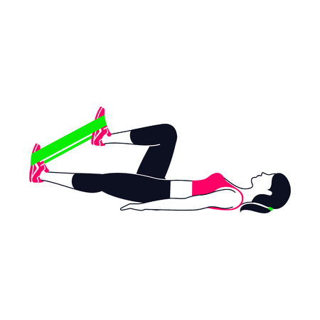 aerobic training: Workout pose with a green band. Illustration