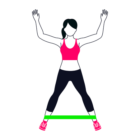 Workout pose with green band. Illustration