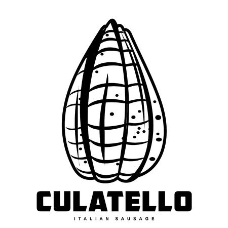 Italiaanse worst vectorillustratie. Delicatessen Italiaans varkensvlees, met witte, rauwe en landham, salami plakjes, worst en spek. Twee kleurenillustratie die op een witte achtergrond wordt geïsoleerd