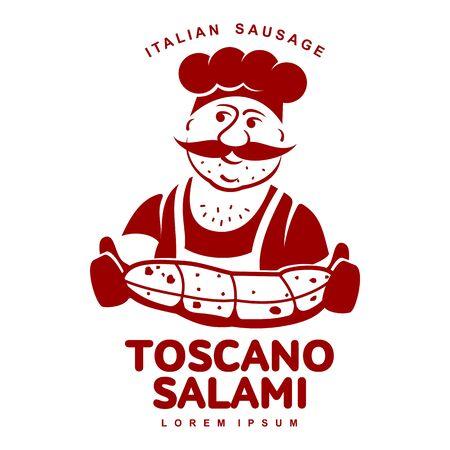 Chef with Italian sausage vector illustration. Illustration