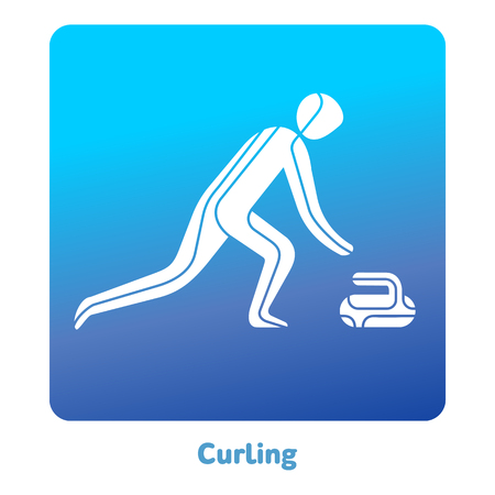 Curling icon. Olympic species of events in 2018. Winter sports games icons, vector pictograms for web, print and other projects. Vector illustration isolated on a white background