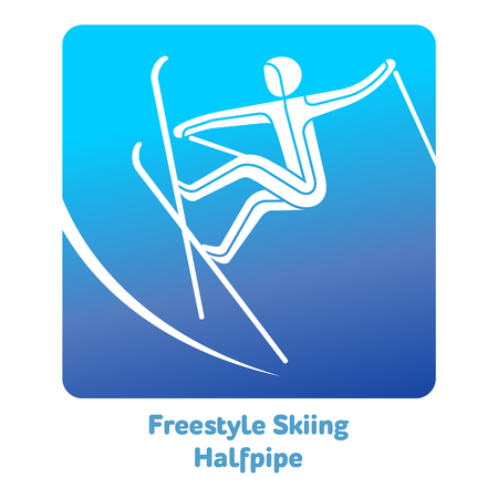 Freestyle Skiing Halfpipe icon. Olympic species of events in 2018. Winter sports games icons, vector pictograms for web, print and other projects. Vector illustration isolated on a white background