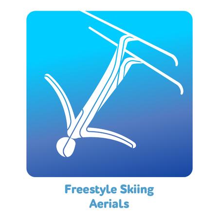 フリー スタイル スキーのエアリアルのアイコン。イベントは 2018 年のオリンピックの種。冬のスポーツ ゲームのアイコン、web、印刷のベクトル絵文字や他のプロジェクト。白い背景で隔離のベクトル図 写真素材 - 90246273