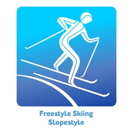 フリー スタイルのスキー スロープ スタイル アイコン。冬のスポーツ ゲームのアイコン、web、印刷のベクトル絵文字や他のプロジェクト。  イラスト・ベクター素材