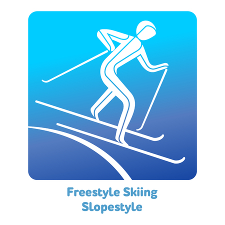 Freestyle Skiing Slopestyle icon. Winter sports games icons, vector pictograms for web, print and other projects.