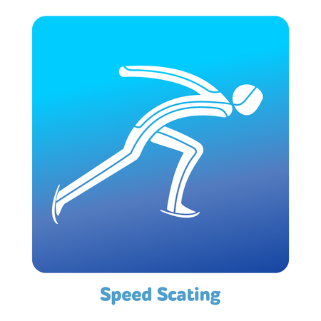 Speed Scating icon. Winter sports games icons, vector pictograms for web, print and other projects. Ilustração