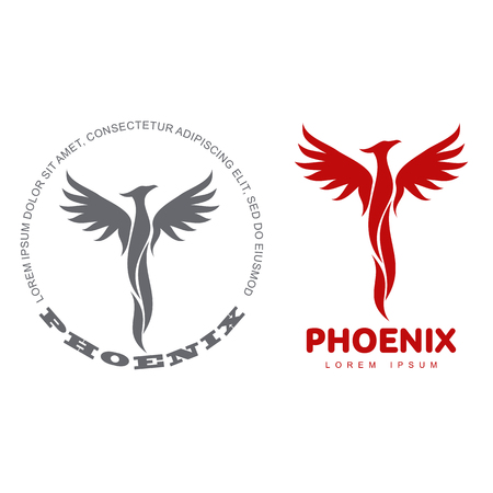 Stylized graphic phoenix bird logo templates. Collection of creative phoenix bird logotype templates, growth, development, power concept. Vector illustration isolated on white background.