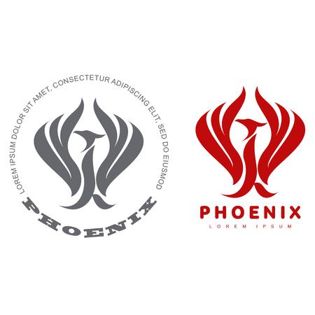 Plantillas de logotipo estilizado ave phoenix gráfico. Colección de plantillas creativas del logotipo del pájaro de Phoenix, crecimiento, desarrollo, concepto de la energía. Ilustración de vector aislado sobre fondo blanco.