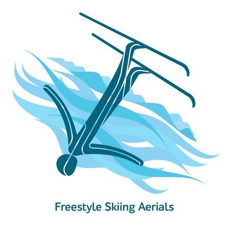 フリー スタイル スキーのエアリアルのアイコン。スポーツ種 2018 年にイベントの。冬のスポーツ ゲームのアイコン、web、印刷のベクトル絵文字や
