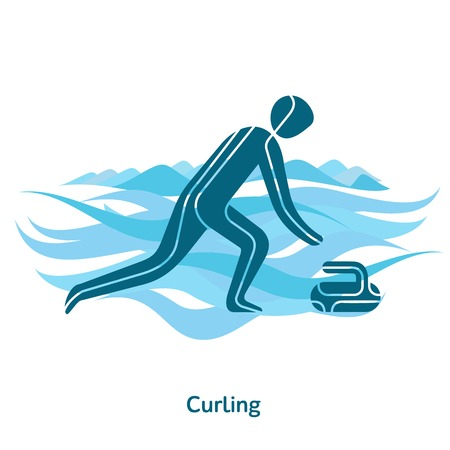 Curling icon. Sport species of events in 2018. Winter sports games icons, vector pictograms for web, print and other projects. Vector illustration isolated on a white background