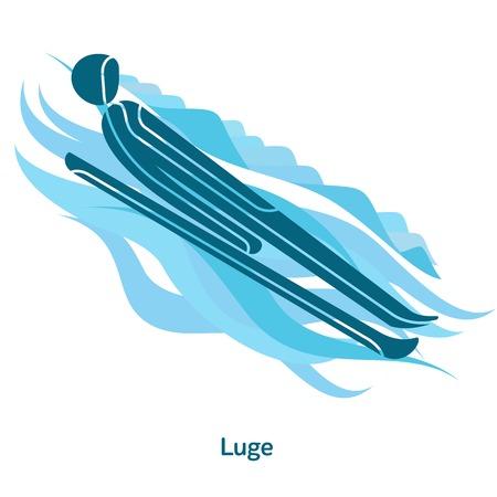 Rennrodel-Symbol. Sportarten von Ereignissen im Jahr 2018. Wintersport-Spiele-Icons, Vektor-Piktogramme für Web, Print und andere Projekte. Vektorabbildung getrennt auf einem weißen Hintergrund
