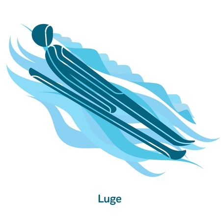Luge icon. Sport species of events in 2018. Winter sports games icons, vector pictograms for web, print and other projects. Vector illustration isolated on a white background Illustration
