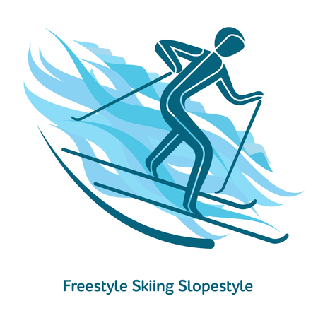 Freestyle Skiing Slopestyle icon. Sport species of events in 2018. Winter sports games icons, vector pictograms for web, print and other projects. Vector illustration isolated on a white background