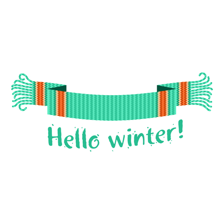 Warm knitted winter scarf with the inscription Hello Winter against the backdrop of snow and spruce forest. Vector flat Illustration. Web banners, advertisements, brochures, business templates. Isolated on a white background. Illustration