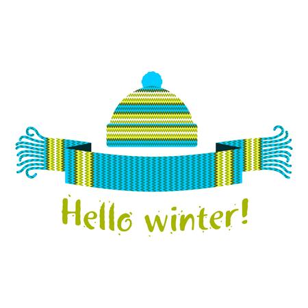 Écharpe chaude et bonnet d'hiver avec l'inscription Hello Winter. Illustration vectorielle plane. Bannières Web, publicités, brochures, modèles commerciaux. Isolé sur fond blanc