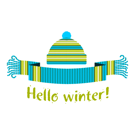 Warm knitted winter scarf and cap with the inscription Hello Winter. Vector flat Illustration. Web banners, advertisements, brochures, business templates. Isolated on a white background.