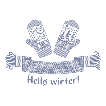 Warm knitted winter scarf and mitten with the inscription Hello Winter. Vector flat Illustration. Web banners, advertisements, brochures, business templates. Isolated on a white background.