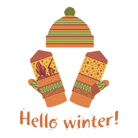 Winter mittens and cap illustrations in soft vintage colors. Mittens icon templates with the image of mountains and pine. Vector illustrations isolated on white background. Illustration