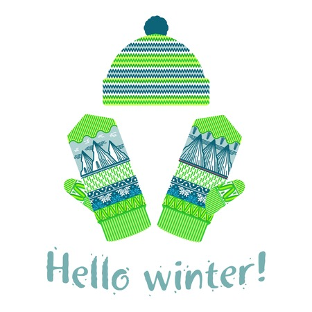 Winter mittens and cap illustrations in soft vintage colors. Mittens icon templates with the image of mountains and pine. Vector illustrations isolated on white background. Vettoriali
