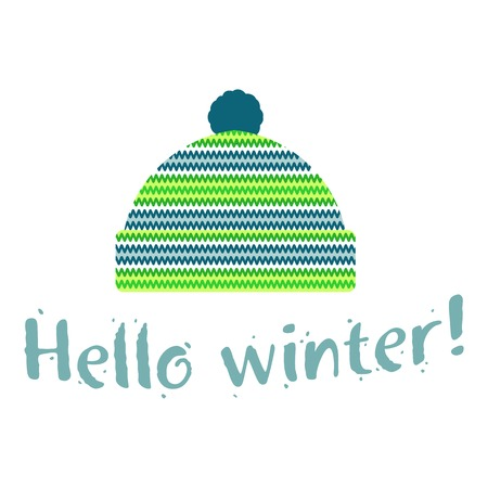 Winter cap illustrations in soft vintage colors. Mittens icon templates with the image of mountains and pine. Vector illustrations isolated on white background. Illustration