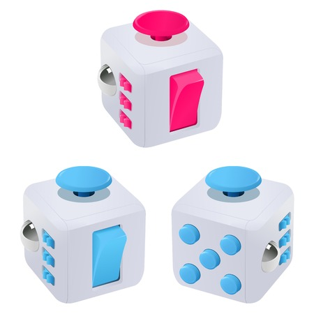 Fidget cube vector illustration. Fidget cube tricks. Badges, labels, banners, advertisements, brochures, business templates. Vector illustration isolated on white background Illustration