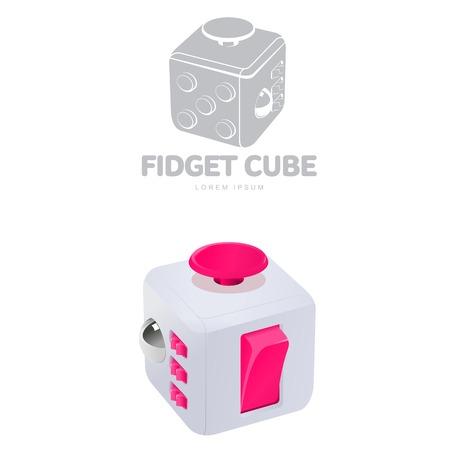 Fidget cube vector illustration. Fidget cube tricks. Badges, labels, banners, advertisements, brochures, business templates. Vector illustration isolated on white background Illustration