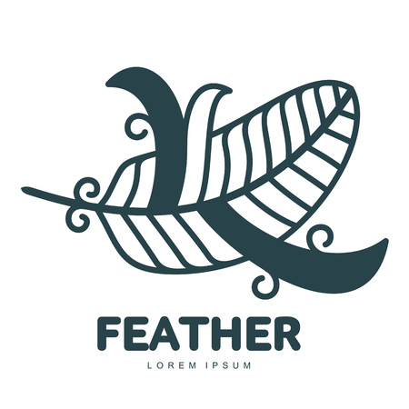 Blue feather icon template. Graphic bird feather icontype with the text below, flight, nature, environment, concept of growth and development. Vector illustration isolated on white background.