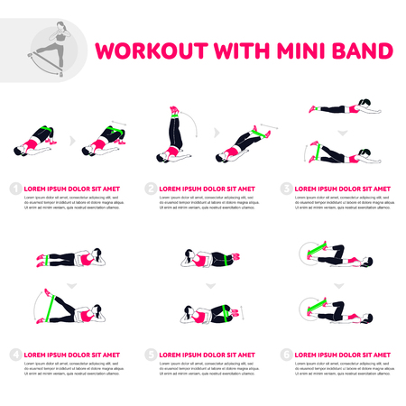 Fitness, Aerobic and workout exercise in gym. Vector set of gym icons in flat style isolated on white background. People in gym. Gym equipment. Vettoriali