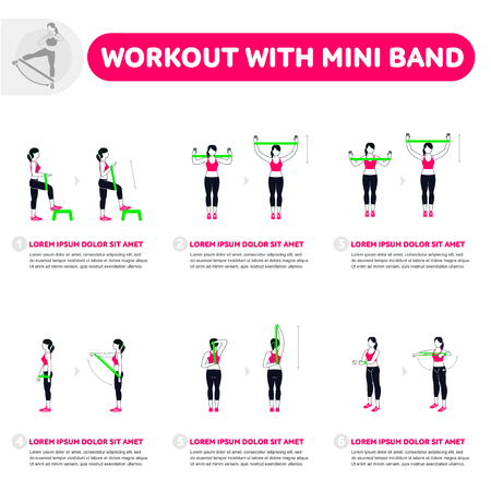 Workout with mini band. Fitness, Aerobic and workout exercise in gym. Vector set of gym icons in flat style isolated on white background. People in gym. Gym equipment. Vettoriali