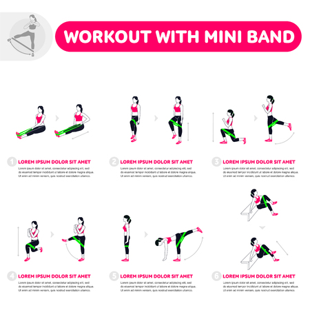 Workout with mini band. Fitness, Aerobic and workout exercise in gym. Vector set of gym icons in flat style isolated on white background. People in gym. Gym equipment. Çizim