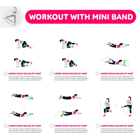 Workout with mini band. Fitness, Aerobic and workout exercise in gym. Vector set of gym icons in flat style isolated on white background. People in gym. Gym equipment. Ilustração
