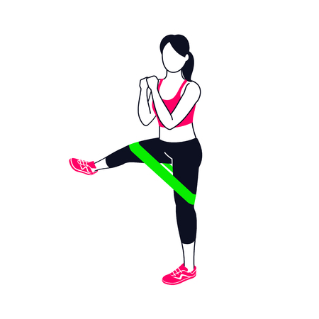Workout with mini band. Fitness, Aerobic and workout exercise in gym. Vector set of gym icons in flat style isolated on white background.