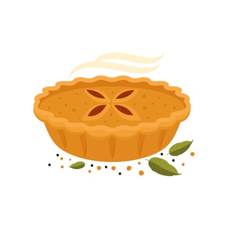 Meat pie, roll, quiche vector flat full color illustration. Hot, fresh, tasty and organic.