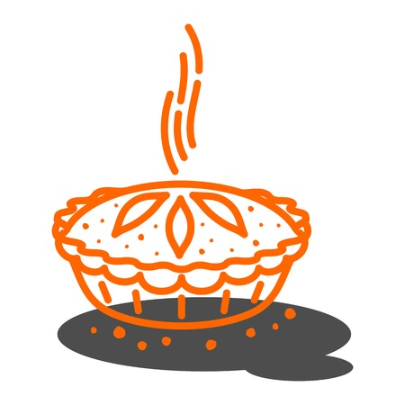 Meat pie, roll, quiche vector line two color illustration. Hot, fresh, tasty and organic.