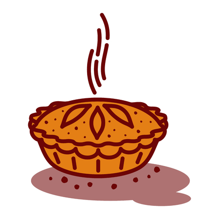Meat pie, roll, quiche vector line two color illustration. Hot, fresh, tasty and organic. Bakery shop web graphics, advertisements, brochures, business templates. Isolated on a white background. 矢量图像