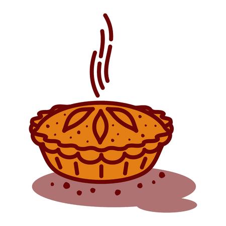 Vleespastei, broodje, quiche vectorlijn twee kleurenillustratie. Heet, vers, smakelijk en organisch. Bakkerij webafbeeldingen, advertenties, brochures, zakelijke sjablonen. Geïsoleerd op een witte achtergrond.