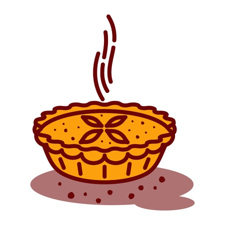 Meat pie, roll, quiche vector line two color illustration. Hot, fresh, tasty and organic. Bakery shop web graphics, advertisements, brochures, business templates. Isolated on a white background.  イラスト・ベクター素材