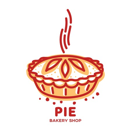 Meat pie, roll, quiche vector line logo templates. Two color illustration.