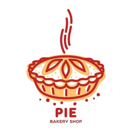 Torta de carne, rolo, quiche vetor linha logotipo modelos. Ilustração de duas cores. Logos