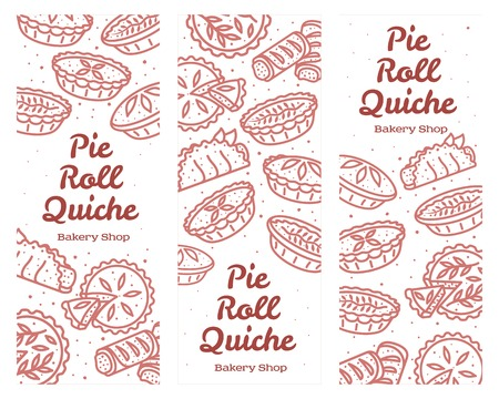 Meat pie, roll, quiche vector set banner illustration. Hot, fresh and tasty.