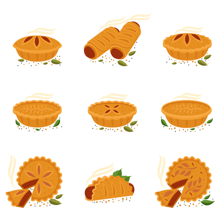 Meat pie, roll, quiche vector set flat full color illustration. Hot, fresh, tasty and organic.