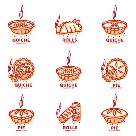Meat pie, roll, quiche vector set line logo templates. Two color illustration. Hot, fresh and tasty. Bakery shop menu, advertisements, brochures, business templates. Isolated on a white background.