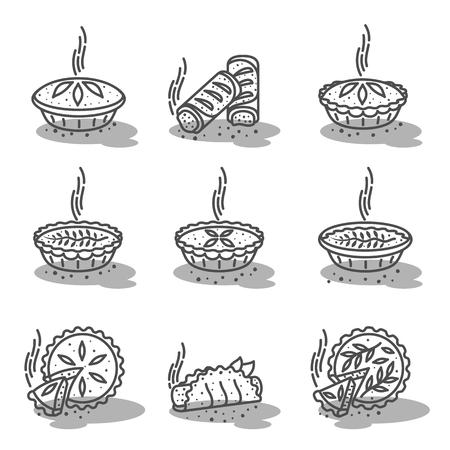 Torta de carne, rolo, linha ajustada do vetor da quiche ilustração de cor dois. Quente, fresco, saboroso e orgânico. Gráficos de web de loja de padaria, anúncios, folhetos, modelos de negócios. Isolado em um fundo branco. Ilustración de vector