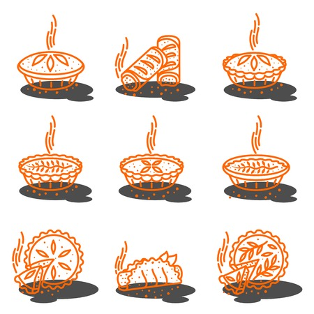 Meat pie, roll, quiche vector set line two color illustration. Hot, fresh, tasty and organic. Bakery shop web graphics, advertisements, brochures, business templates. Isolated on a white background. Illustration