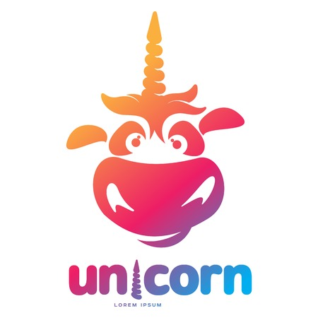 Funny unicorn face graphic logo template. Full color catroon unicorn head and rainbow logo design for web, advertisements, brochures, business templates. Vector illustration on white background. Stock Vector - 94934448